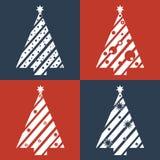 Progettazione piana dell'albero di Natale Immagine Stock