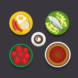 Progettazione piana dell'alimento di stile Fotografie Stock