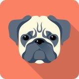 Progettazione piana dell'icona del cane Immagini Stock