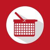 Progettazione piana dell'icona del cestino della spesa Fotografie Stock