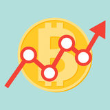 Progettazione piana dell'icona della linea freccia di uptrend che attraversa il segno del bitcoin sul fondo blu di colore Immagini Stock