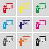 Progettazione piana dell'illustrazione di vettore delle azione dell'icona dell'uomo Immagine Stock