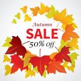 Progettazione piana dell'insegna di vendita di autunno per il web e la stampa Fotografia Stock
