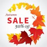 Progettazione piana dell'insegna di vendita di autunno per il web e la stampa Fotografia Stock Libera da Diritti