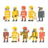 Progettazione piana dell'insieme del lavoratore addetto al salvataggio illustrazione di stock
