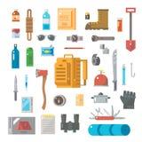 Progettazione piana dell'insieme dell'attrezzatura per la sopravvivenza illustrazione di stock