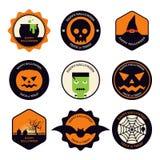 Progettazione piana dell'insieme di elementi di progettazione di Halloween Fotografia Stock