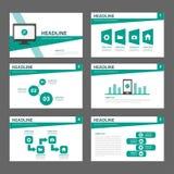 Progettazione piana dell'opuscolo dell'aletta di filatoio dell'opuscolo del modello multiuso verde del sito Web Immagine Stock
