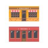 Progettazione piana della facciata anteriore del negozio Fotografie Stock Libere da Diritti