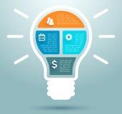 Progettazione piana 1 della lampadina di affari di Infographic Fotografie Stock Libere da Diritti