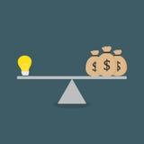 Progettazione piana della lampadina e del Moneybag sulla scala Fotografia Stock Libera da Diritti