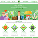 Progettazione piana della pagina della società di assicurazioni una Fotografia Stock