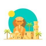 Progettazione piana della Sfinge Giza con il villaggio Fotografie Stock