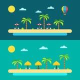 Progettazione piana della spiaggia di paradiso di estate Immagini Stock Libere da Diritti