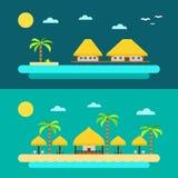 Progettazione piana della spiaggia di paradiso di estate Immagine Stock Libera da Diritti