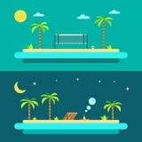 Progettazione piana della spiaggia di paradiso di estate illustrazione di stock