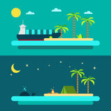 Progettazione piana della spiaggia di paradiso di estate royalty illustrazione gratis