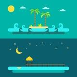 Progettazione piana della spiaggia di paradiso di estate illustrazione vettoriale