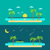 Progettazione piana della spiaggia di paradiso di estate Fotografia Stock