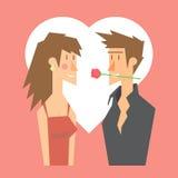 Progettazione piana delle coppie del biglietto di S. Valentino romantico di datazione illustrazione di stock