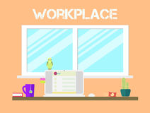 Progettazione piana delle icone dell'area di lavoro di stile Posto di lavoro e Immagini Stock