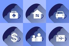 Progettazione piana delle icone di assicurazione Fotografia Stock