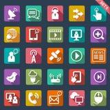 Progettazione piana delle icone di comunicazione Fotografia Stock Libera da Diritti
