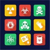 Progettazione piana delle icone di rischio biologico illustrazione vettoriale
