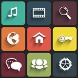 Progettazione piana delle icone di web su colore Fotografie Stock Libere da Diritti