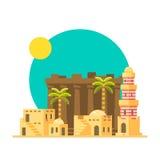 Progettazione piana delle rovine di Karnak nell'Egitto illustrazione vettoriale