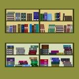 Progettazione piana dello scaffale per libri Immagine Stock