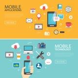 Progettazione piana di applicazione di tecnologia del modello mobile dell'insegna illustrazione di stock