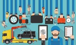 Progettazione piana di chiamata online di servizio dell'automobile con il demolitore ed il meccanico Fotografia Stock
