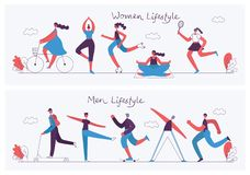 Progettazione piana di concetto dello stile di vita sano royalty illustrazione gratis