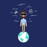 Progettazione piana di concetto di tecnologia di realtà virtuale Immagine Stock Libera da Diritti