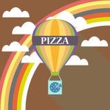 Progettazione piana di consegna della pizza dell'aerostato Illustrazione Vettoriale