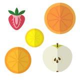 Progettazione piana di frutti Fotografie Stock