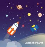 progettazione piana di Infographics del sistema solare e del razzo Illustr di vettore Fotografia Stock
