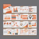 Progettazione piana di presentazione di Infographic del modello arancio degli elementi Immagine Stock