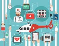 Progettazione piana di sanità con l'elicottero, l'ospedale ed il vettore di medico Fotografia Stock Libera da Diritti