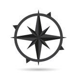 Progettazione piana di stile della bussola dell'icona con ombra Illustrazione Vettoriale