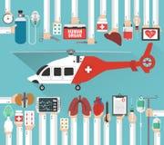 Progettazione piana di transplatation dell'organo umano con l'elicottero Fotografia Stock Libera da Diritti