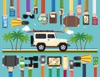 Progettazione piana di viaggio di estate con SUV ed il surf Fotografie Stock