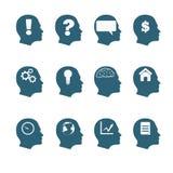 Progettazione piana ENV 10 di stile delle icone di mente umana Fotografia Stock