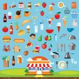 Progettazione piana fissata icone dell'alimento Fotografia Stock Libera da Diritti