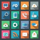 Progettazione piana fissata icone di comunicazione Immagine Stock