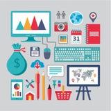 Progettazione piana - icone di vettore di affari per gli impianti creativi differenti Immagini Stock