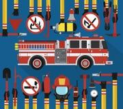 Progettazione piana infographic di estinzione di incendio con l'autopompa antincendio Fotografie Stock