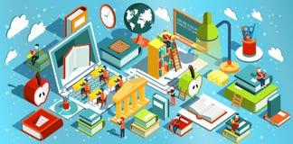 Progettazione piana isometrica di istruzione online Il concetto dei libri di lettura e di apprendimento nella biblioteca e nell'a Immagine Stock