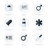 Progettazione piana medica di vettore delle icone in bianco e nero Fotografia Stock Libera da Diritti